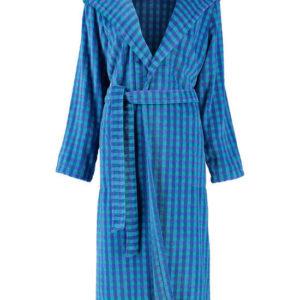 Afbeelding van Cawö dames badjas velours met capuchon blauw  maat 42