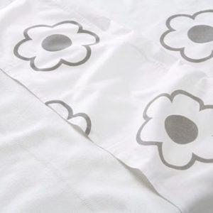 Afbeelding van Jollein Organic Flower - Lakentje 120x150 cm - Wit/Grijs
