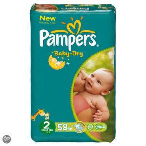 Afbeelding van Pampers Baby Dry - Luiers Maat 2 - Voordeelpak 58st