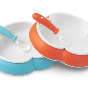 Afbeelding van BabyBjörn - Babybord met Babylepel Duopak - Oranje en Turquoise