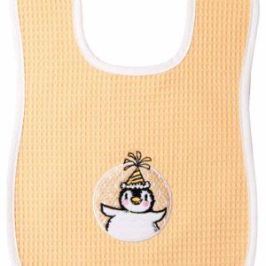 Afbeelding van bébé-jou - Slab met Klitteband Pinguin - Licht oranje