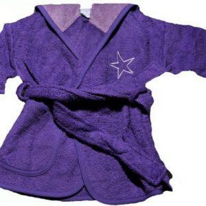 Afbeelding van Badjas 0 tot 12 maanden paars/lila sterren