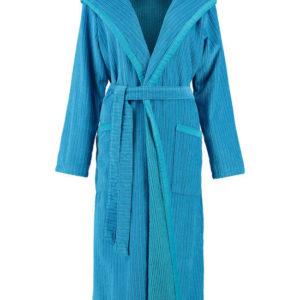 Afbeelding van Cawö dames badjas velours met capuchon blauw/turquoise  maat 50