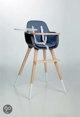 Kinderstoel Wit Hout.Design Kinderstoel Ovo Blauw Met Witte Riem