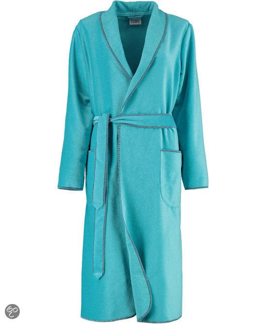 ccd1c544790 Cawö korte dames badjas velours met sjaalkraag turquoise maat 46 ...
