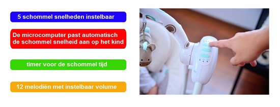 Automatische Schommel Baby.Lionelo Ruben Schommel Met 5 Instelbare Schommelsnelheden En 12